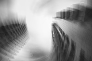 Abstract image of two buildings