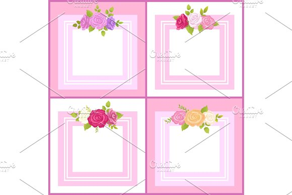 Four Frames With Decorative Flowers Color Banner
