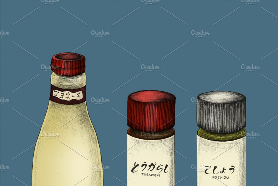 Illustration of Japanese ingredients in Illustrations - product preview 8