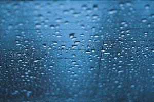 Water rain drop on car rear glass