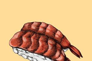 Illustration of Japanese food