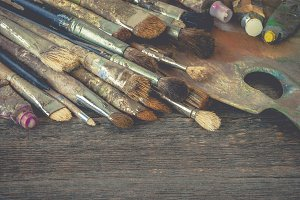 Brushes, paints and a palette