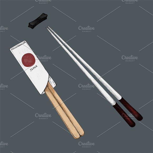 Illustration Of Japanese Chopsticks