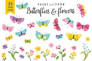 Butterflies & Flowers Clip arts