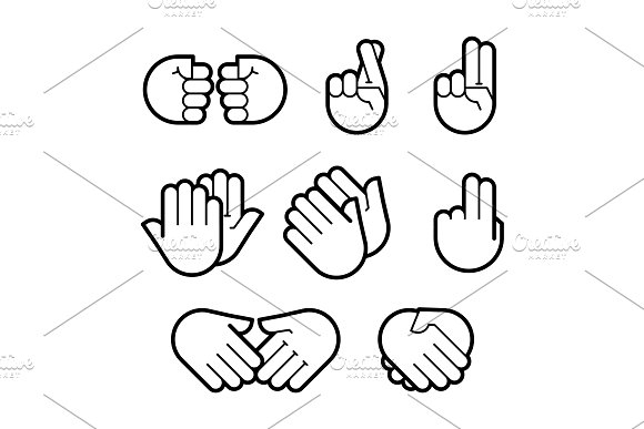 Hand Gestures Line Icons Set Flat
