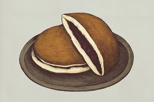 Hand drawn dorayaki Japanese (PSD)