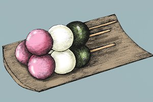 Hand drawn dango Japanese (PSD)