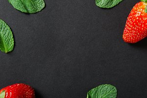 Strawberries and mint. Background