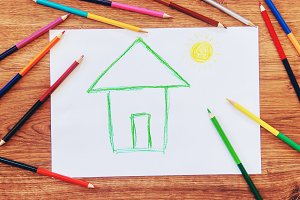 draw child house family.