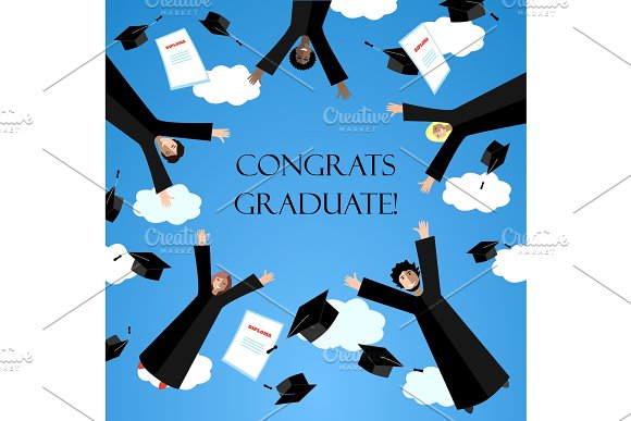 Happy Graduates Flying In The Air With Graduation Hats Jumping Students And Graduation Caps In The Sky Vector Card
