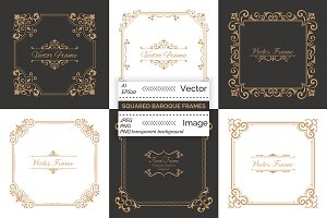Squared decorative baroque frames