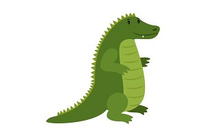 Alligator. Vector happy cartoon crocodile mascot