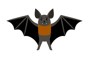 Bat. Vampire bat vector illustration scary halloween flying isolated icon