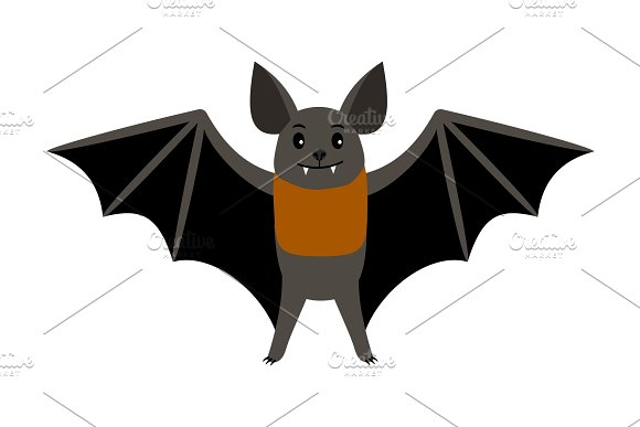 Bat Vampire Bat Vector Illustration Scary Halloween Flying Isolated Icon