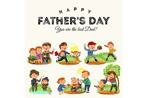 Set happy fathers day greeting card, dad fun with kids, parent of little childrens family vacation, daddy love holiday celebration vector illustration, son and daughter care man with mustache and beard