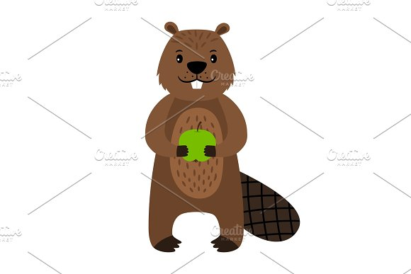 Beaver Vector Cartoon Beaver Character Isolated