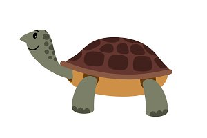 Cute turtle. Vector cartoon turtle pet vector illustration