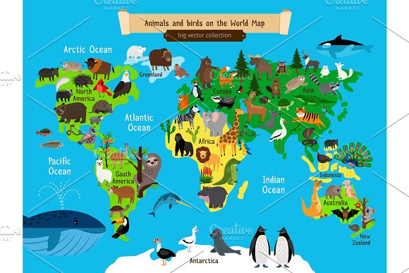 World Map Animals Europe And Asia South And North America Australia And Africa Animals Map Vector Illustration