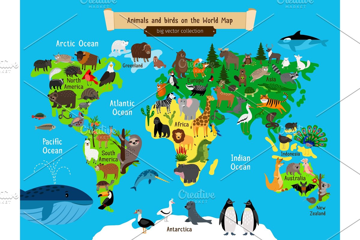 Australia In World Map.World Map Animals Europe And Asia South And North America Australia And Africa Animals Map Vector Illustration
