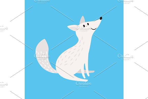 Arctic Fox Snow Fox Or Polar Wolf Isolated Vector Illustration