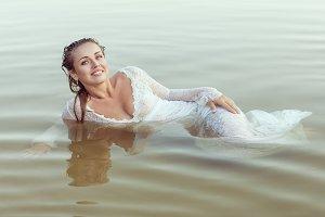 Beautiful woman in the water.