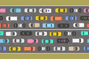 Top view of Traffic road jam