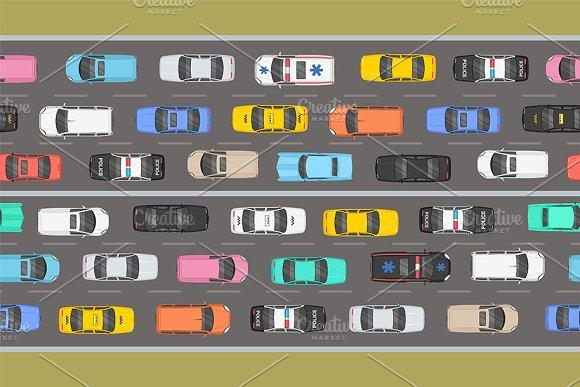 Top View Of Traffic Road Jam