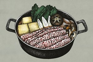Hand drawn sukiyaki Japanese (PSD)