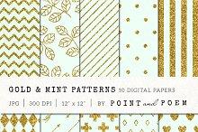 Gold Glitter & Mint Patterns
