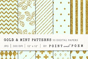 Gold Glitter & Mint Patterns