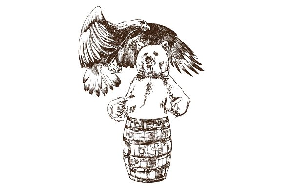 Hand-drawn Eagle And A Bear