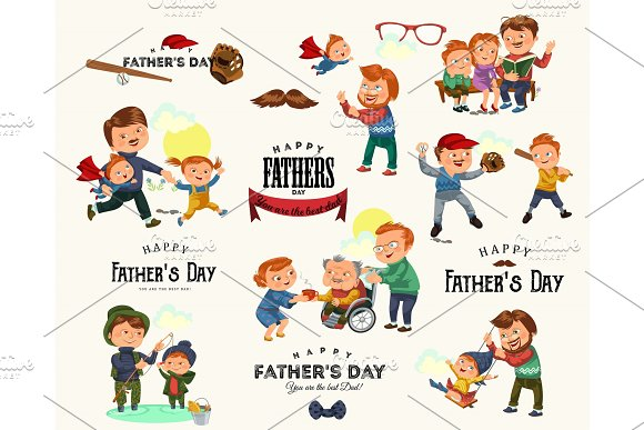 Set Happy Fathers Day Greeting Card Dad Fun With Kids Parent Of Little Childrens Family Vacation Daddy Love Holiday Celebration Vector Illustration Son And Daughter Care Man With Mustache And Beard