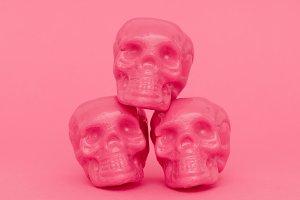 Pink Mood. Skull. Fashion minimal ar