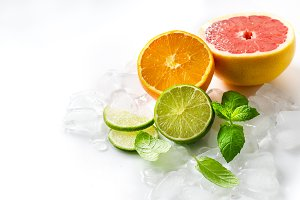 Citrus fruits copy space background