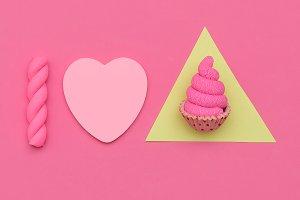 Candy Minimal Set. Fashion Flatlay a