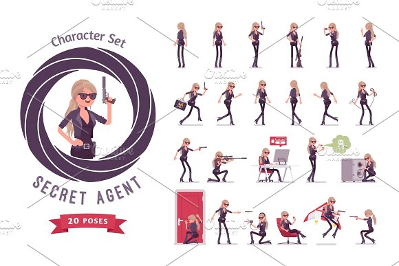 Secret Agent Woman Ready-to-use Character Set