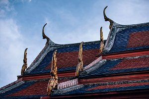 Blue and Orange Rooftop of a Temple