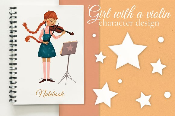 Girl With A Violin Character Design