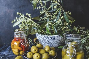 Still life with olives