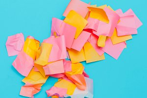 Office paper. Pastel colours trend.