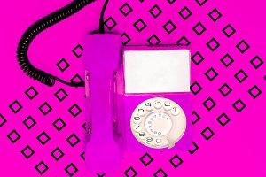 Vintage pink phone. Minimal Candy de
