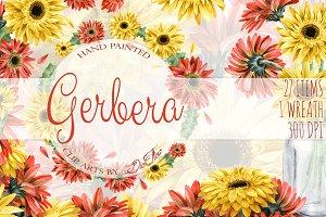 Gerbera Watercolor Clip Art