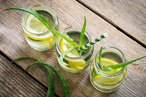 Healthy aloe vera drinks with lemon.