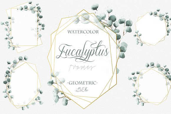 Geometric Eucalyptus Frames Clip Art