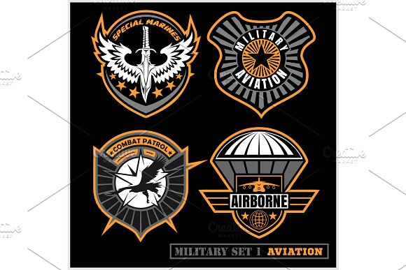 Set Of Military And Army Badge And Patches Typography For T Shirt And Other Uses
