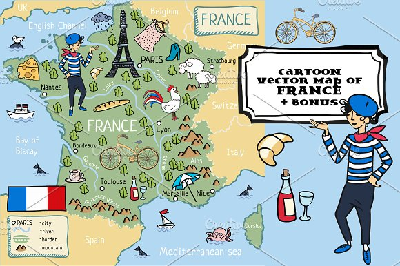 Map Of France In English.Cartoon Map Of France Graphics Creative Market