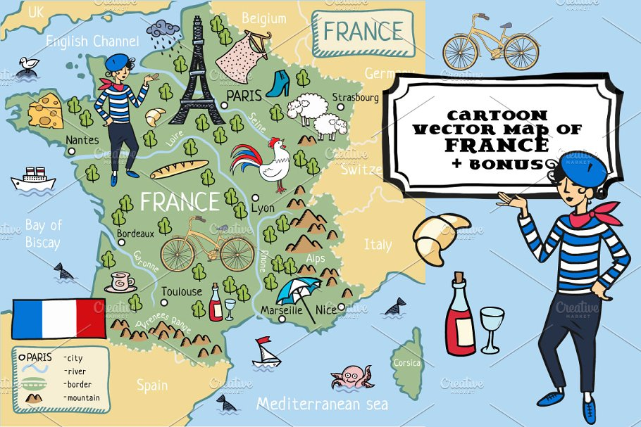 Map Of France France.Cartoon Map Of France