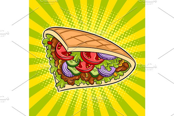 Doner Kebab Pop Art Vector Illustration