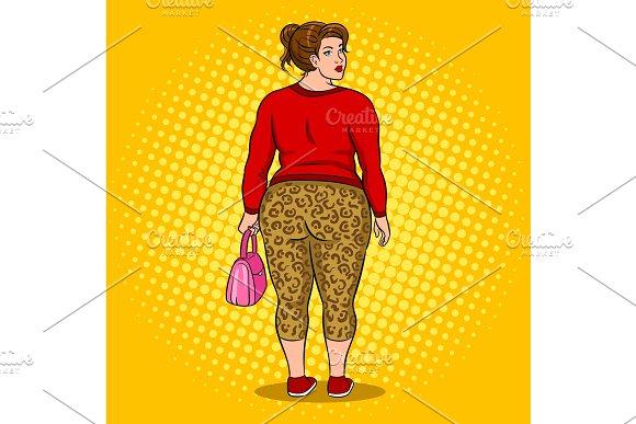 Fat Girl In Leopard Leggings Pop Art Vector