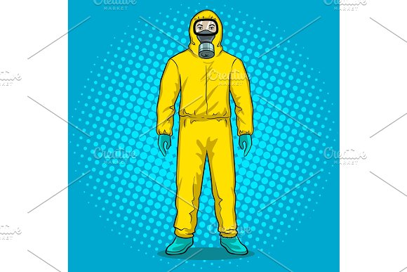 Man In Protective Hazard Suit Pop Art Vector